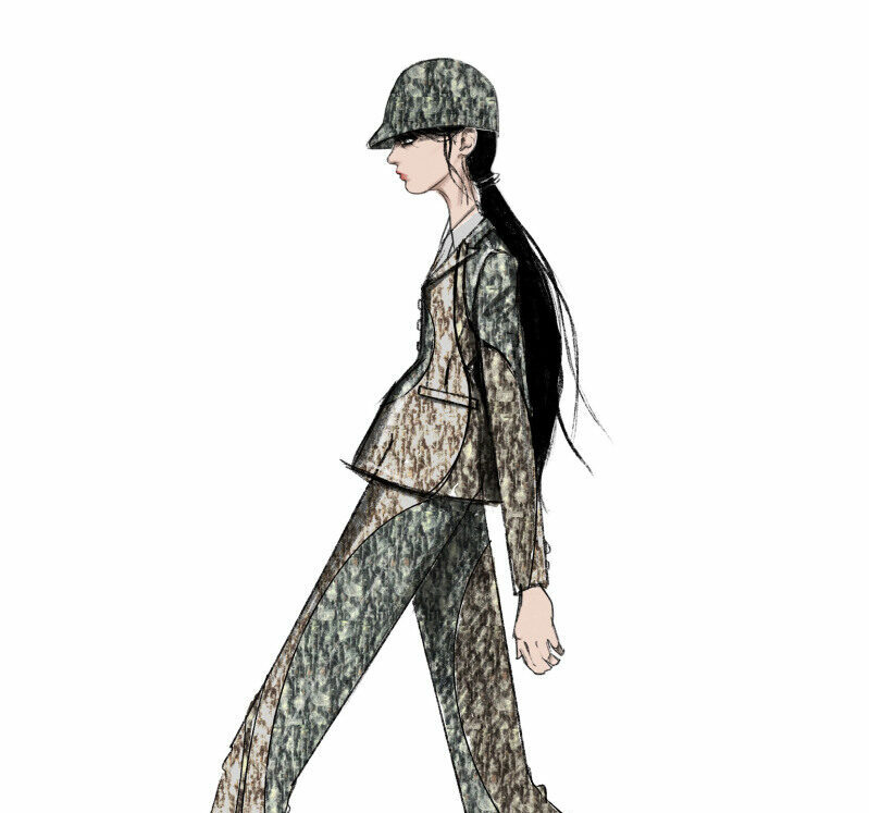 Drawing for Christian Dior's Autumn-Winter 2021-2022 Haute Couture collection